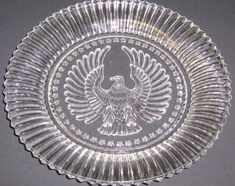 Anchor Hocking Depression Glass Crystal Clear STARS and STRIPES 8 Inch Salad Plate