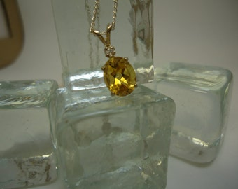 Oval and Round Cut Citrine and Sapphire Necklace in Sterling Silver   #1034