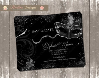 Elegant Masquerade Ball Save The Date (Silver and Black) DIGITAL FILE
