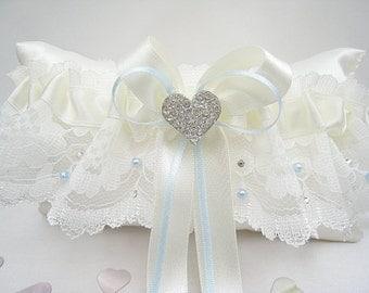 Blue Wedding Garter With Pearls & Swarovski, Something Blue Garters For Brides