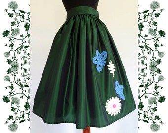 1950's Vintage Inspired Full Skirt Rockabilly Crochet Flowers and Butterflies