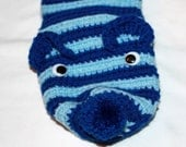 Christmas Stocking - Kitty Christmas Stocking - Crocheted Christmas Stocking - Handmade Christmas Stocking - Blue Christmas Stocking - Grandmasandeze