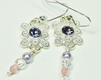 Filigree Dangle Earrings, Silver Tone and Crystal Earrings, Purple and Pink Earrings, Pearl and Crystal Earrings