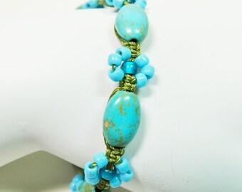 Magnesite Macrame Flower Bracelet, Turquoise Magnesite Beaded Bracelet, Flower Beaded Bracelet