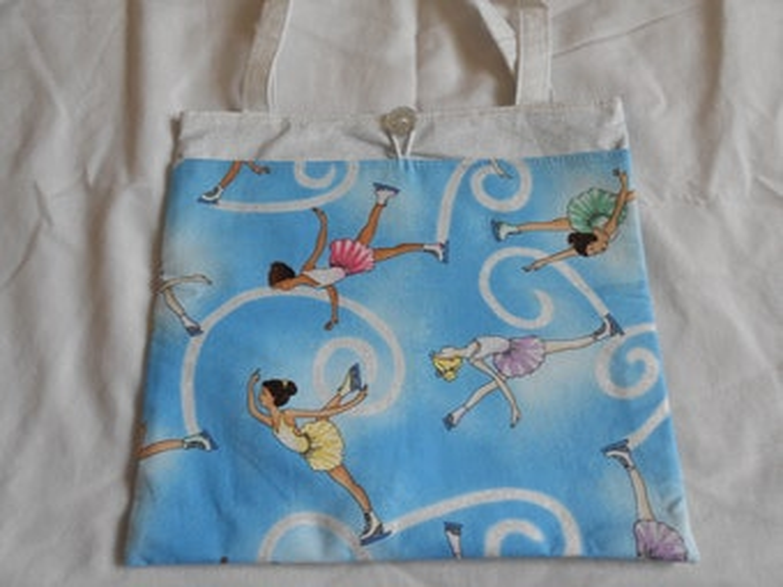 Figure Skater Ice Skater Girls Tote Bag Trick or Treat Bag Easter Basket