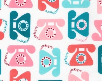 "Retro Telephones ""This and That"" by Ann Kelle for Robert Kaufman in Sweet 1 Yard Cut"
