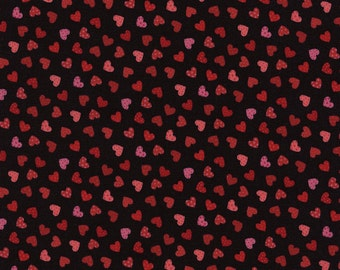 Timeless Treasures Fun Collection Mini Hearts on Black by the Yard