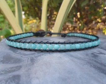 Blue  Bead  Bean  Leather Anklet