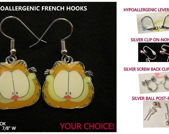 Cat Garfield Earrings -CHOICE- Steel Hypoallergenic French Hook Post Leverback Pierced OR Clip On