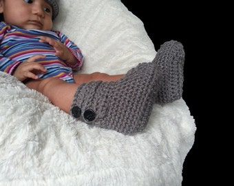 Gray Baby boots, handmade crochet booties, infant shoes, newborn-12 months, available in 29 colors