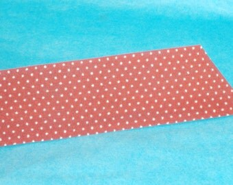 Rust Red with Tan Pin Dotted Swiss Fabric Ribbon - from Lion Brand Ribbon - 35mm Wide - BTY - Destash