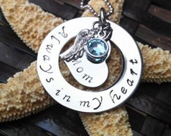 Memorial Jewelry Always in my Heart Remembrance Jewelry Memorial Necklace...
