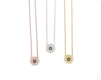 Mini Pave Evil Eye Disc Necklace-Yellow Gold