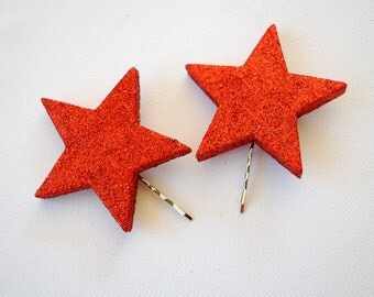 two glitter stars bobby pins, girl hair clip, photo prop, hollywood, disco, birthday party, twinkle, sparkle, red, weddings hair accessory