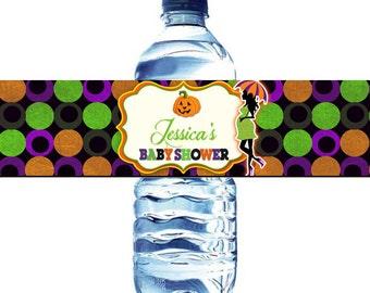 Halloween Baby Shower Water Bottle Labels - Halloween Baby Shower Water Label DIY - Baby Shower Halloween Water bottle label - Halloween sho