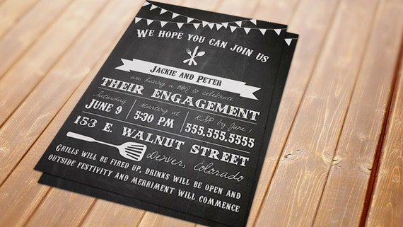 Chalkboard BBQ Printable Party Invitation - Engagement, Birthday, Anniversary, Co-ed Shower