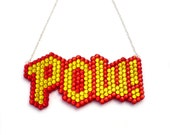 Sparkly POW Necklace - Comic Inspired Geek Chic Jewellery - Red Golden Yellow or Custom Superhero Theme Crystal Rhinestone Encrusted Pendant