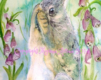 Hiding Hare Giclee Print of  Watercolour and Ink Painting on Watercolour Paper