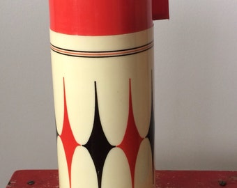 Vintage Aladdin Vanguard Insulated Thermos/ Red Black Cream