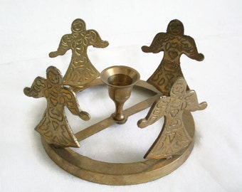 Folkloric dancers around brass candlestick, vintage candle holder, unique. Folklore, traditional costumes, 4 figures, eastern peasant women