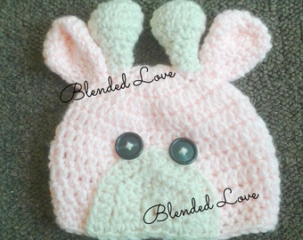 Pink Newborn Giraffe Hat, Crochet Beanie, Cute baby girl hat