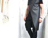 Grey Cashmere/wool Sleeveless Men's Coat / Extravagant Vest A07100
