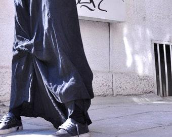 NEW  Black Linen Maxi Skirt /  Extravagant Long  Skirt / Stripe less Spring /Summer Dress A09118