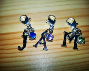 Individual Letter Charms with Gem