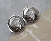 Vintage Cufflinks Roman Soldier Dark Gray Jewelry H630