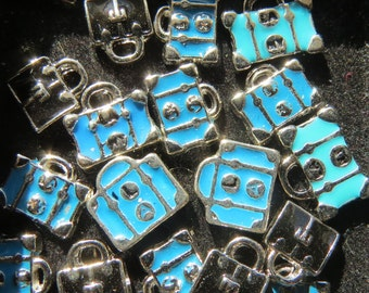 Teal Suitcase Floating Charm