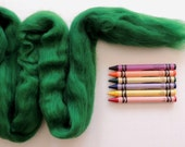 MERINO WOOL TOP - Vivid Green (approximately 1 oz) - From Purple Moose Felting