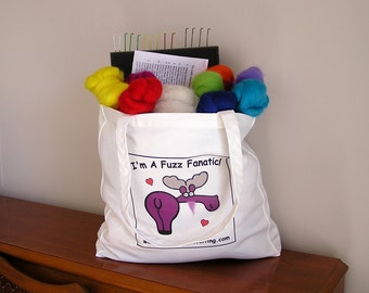 NEEDLE FELTER'S FANTASY / Canvas Tote Bag Filled With Felting Supplies / needle felting gift bag with wool, felting needles, pad, and more