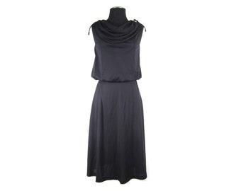 1970s  Black  Knee-Length Cowl Neck Disco Dress - Sleeveless Flared Skirt - Small Medium - Vegan