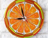 The Orange Citrus Wall Clock Spring Trends 2016, wall clock handmade, hand painted clock