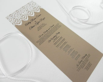 Handmade Embossed Wide Lace Wedding Program - Style 191