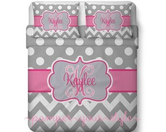Polka dot and Chevron Duvet with Matching Sham(s) -  Pink and Gray Monogrammed Bedding - Personalize with Name or Monogram - Create your Bed
