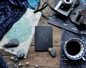 "Black Metallic notebook-sketchbook with a carved pattern - constellation ""Ursa Major"" (small size)"