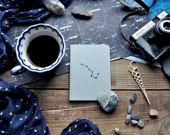 "Gray notebook-sketchbook with a carved pattern - constellation ""Ursa Major"" (small size)"