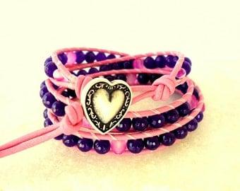 Violet Purple / Hot Pink Triple Leather Wrap Bracelet/ stack bracelet/ boho/ bohemian/ beach/ spring summer trends 2018/ heart button