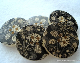 30mm Wood Buttons Black with Grey Rose Print Pack of 5 Black Floral Buttons W3010