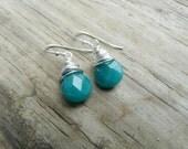 Emerald Green Jade Silver Earrings.  Gift for Her.  Simple Gemstone Jewelry.