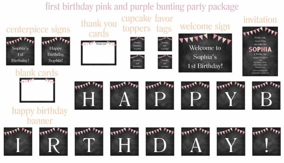 1st Birthday First Girl Pink And Purple Bunting Chalkboard