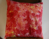 Hand Painted Pillow ; Hand Painted Fabric ; Hand Dyed Fabric ; Throw Pillow ; Orange Cushion ; Home Decor ; Toss Pillow ; OOAK Pillow