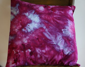 "Hand Dyed Pillow Cover ; Fuchsia Blue Pillow ; 16"" x 16"" Pillow ; OOAK Pillow ; Home Décor ; Accent Pillow ; Throw Pillow ; Hand Dyed Fabric"