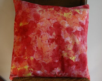 Hand Painted Pillow Cover ; Hand Painted Fabric ; Hand Dyed Fabric ; Throw Pillow ; Orange Cushion ; Home Decor ; Toss Pillow ; OOAK Pillow