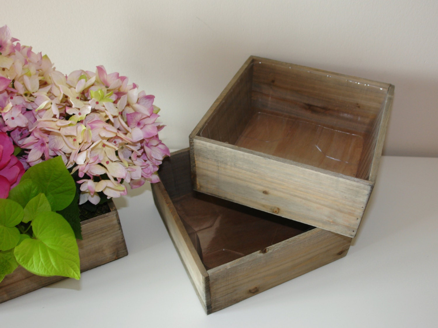 Large Wood Box Woodland Planter Flower Box Rustic Pot Square