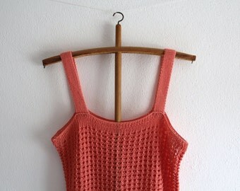 SALE 50 OFF Vintage Top Crocheted Blouse Coral Spring Summer