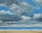 Reserved for Karen - Cloudy Beach Day - Original Oil Painting Seascape