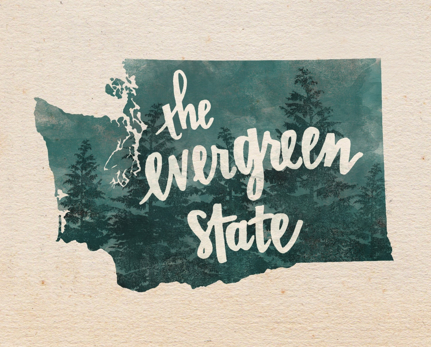 Washington Evergreen State Hand Lettering Digital Print