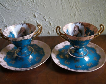 Lot Of 2 China Ceramic Porcelain Antique Bouillon Cups And Saucers Royal Vienna Austria Beehive Mark Gold Guild 1850 to 1864